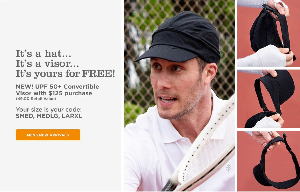 UPF 50+ Convertible Visor with $125 Purchase - Your size is your code: SMED | MEDLG | LARXL
