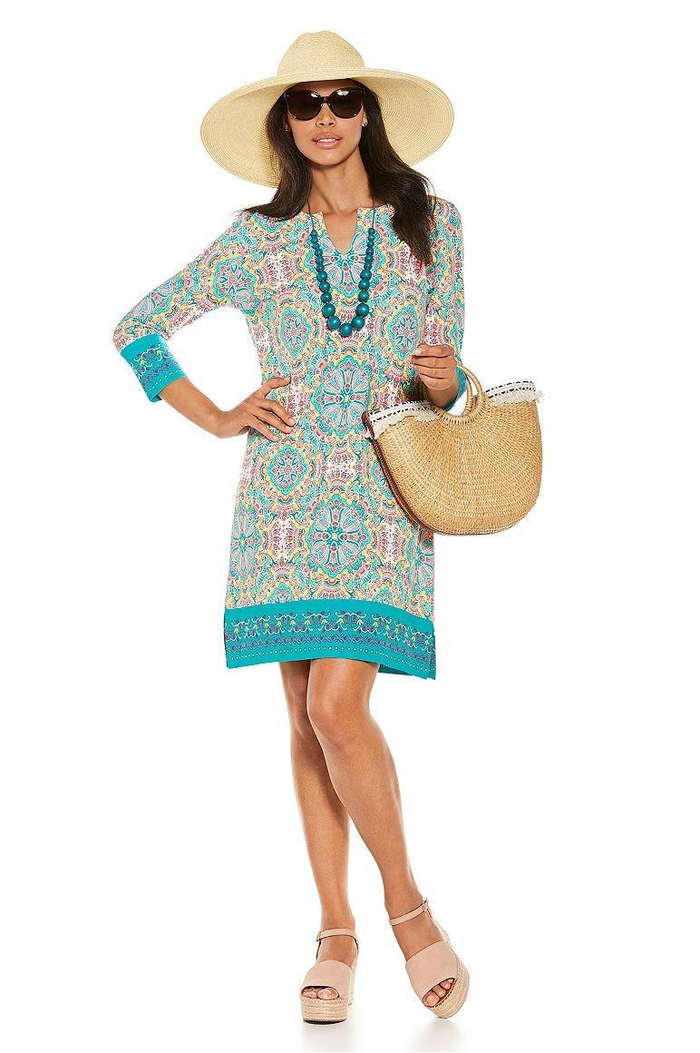 Lauren Wide Brim Fedora & Oceanside Tunic Dress Outfit