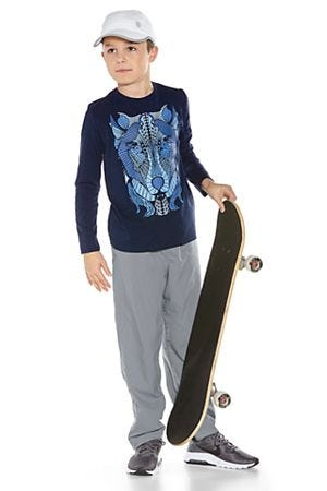 Boy's Long Sleeve Graphic T-Shirt & Sport Pants Outfit