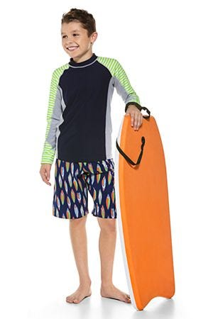 Boy's Colorblock Surf Rash Guard & Island Swim Trunks Outfit