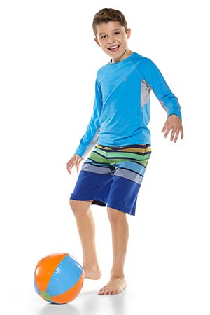 Boy's Long Sleeve Ultimate Rash Guard & Island Swim Trunks Outfit