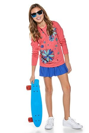Girl's Long Sleeve Graphic T-Shirt & Wavecatcher Swim Skirt Outfit