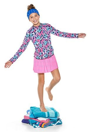 Girl's Ruffle Rash Guard & Wave Swim Skirt Outfit