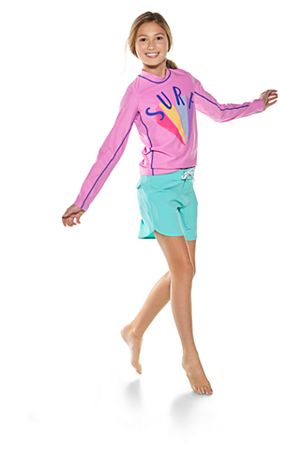 Girl's Long Sleeve Surf Rash Guard & Surf Board short Outfit