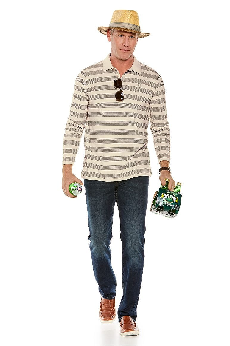 Grant Fedora & Long Sleeve Weekend Polo Shirt Outfit